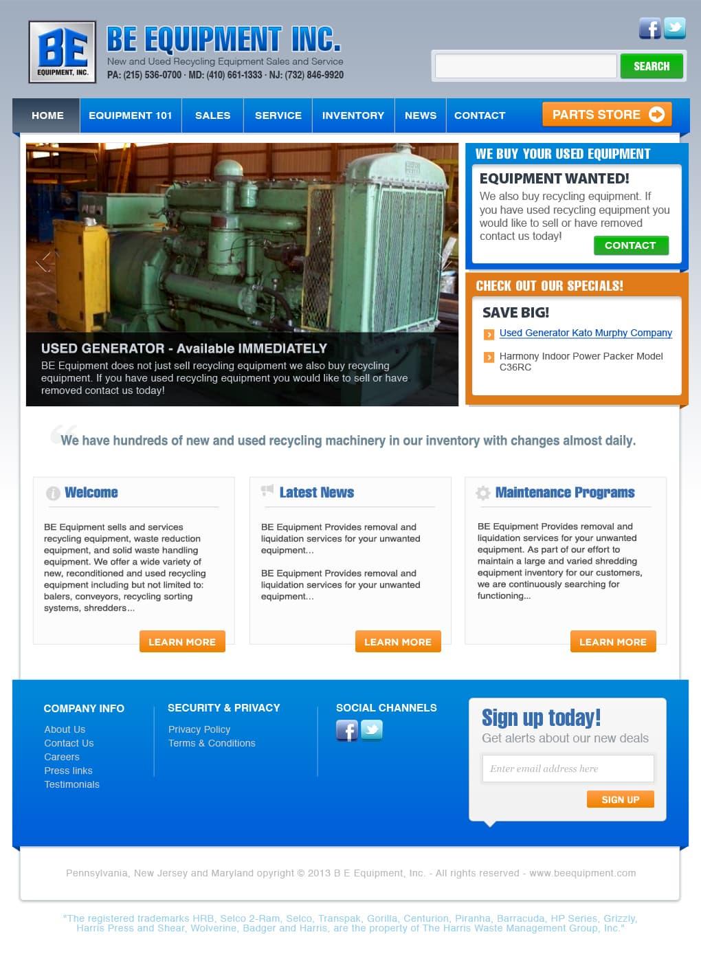 BE Equipment Webdesign